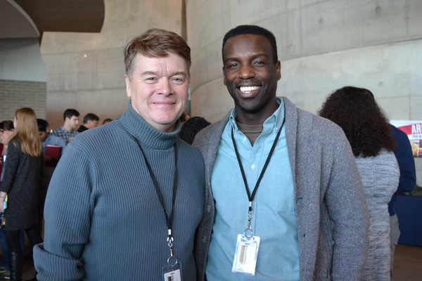 John Scherer (Robert F. Kennedy) and Desmond Bing (Bob Moses/Hosea Williams/Ronald Frye/Father Clements) at the first rehearsal of The Great Society running February 2-March 11, 2018 at Arena Stage at the Mead Center for American Theater.