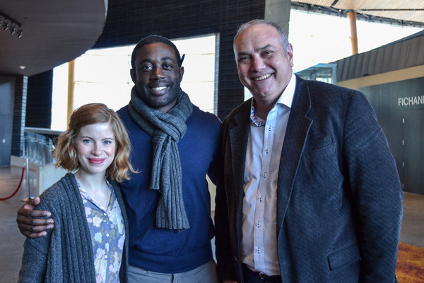 Megan Graves (Pat Nixon/Waitress/Sheriff's Auxiliary), Gary-Kayi Fletcher (James Bevel/Jimmie Lee Jackson) and Elliott Bales (Adam Walinsky) at the first rehearsal of The Great Society running February 2-March 11, 2018 at Arena Stage at the Mead Center