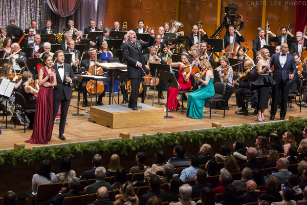 Bramwell Tovey conductst New York York Philharmonic in New Year's Eve:  Bernstein on Broadway with Annaleigh Ashford, Christopher Jackson, Laura Osnes and  Aaron Tveit at David Geffen Hall, 12/31/17. Photo by Chris Lee