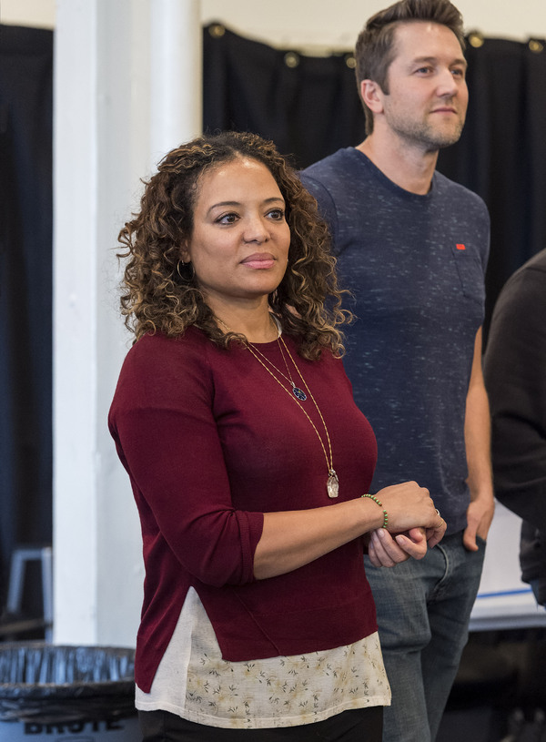 "Cast members Luna Lauren Vélez and Josh Braaten at the first rehearsal for ""Water by the Spoonful� by Quiara Alegría Hudes. Directed by Lileana Blain-Cruz, ""Water by the Spoonful� runs January 31 through March 11, 2018, at the Center Theatre Gro"