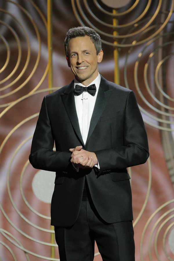 75th ANNUAL GOLDEN GLOBE AWARDS -- Pictured: Seth Meyers, Host at the 75th Annual Golden Globe Awards held at the Beverly Hilton Hotel on January 7, 2018 -- (Photo by: Paul Drinkwater/NBC)