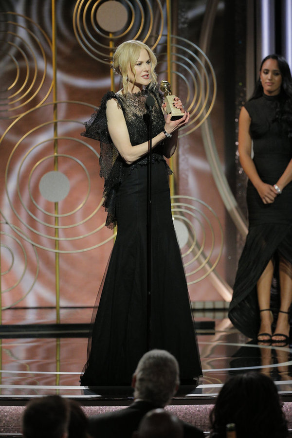 "75th ANNUAL GOLDEN GLOBE AWARDS -- Pictured: (l-r) Nicole Kidman, Â""Big Little LiesÂ"", winner Best Performance by an Actress in a Limited Series or Motion Picture Made for Television at the 75th Annual Golden Globe Awards held at the Beverly Hilton Hotel"