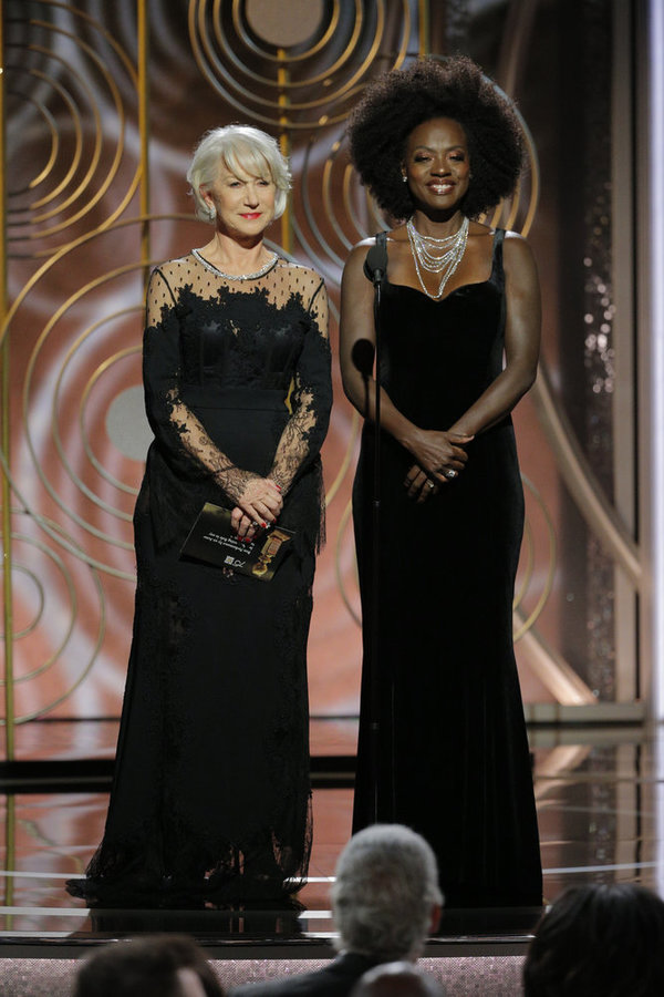 75th ANNUAL GOLDEN GLOBE AWARDS -- Pictured: (l-r) Helen Mirren, Viola Davis, Present Photo