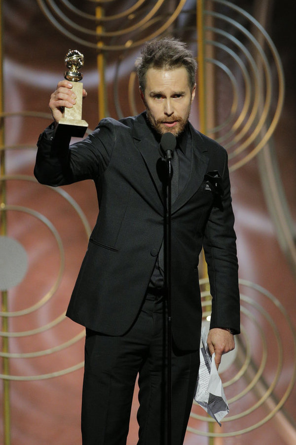 """75th ANNUAL GOLDEN GLOBE AWARDS -- Pictured: (l-r) Sam Rockwell, Â""""Three Billboards Outside Ebbing, MissouriÂ"""", winner Best Performance by an Actor in a Supporting Role in Any Motion Picture at the 75th Annual Golden Globe Awards held at the Beverly Hilto"""