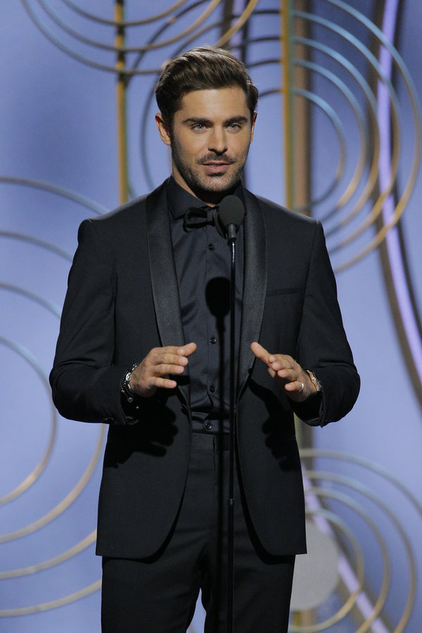 75th ANNUAL GOLDEN GLOBE AWARDS -- Pictured: Zac Efron, Presenter at the 75th Annual Golden Globe Awards held at the Beverly Hilton Hotel on January 7, 2018 -- (Photo by: Paul Drinkwater/NBC)