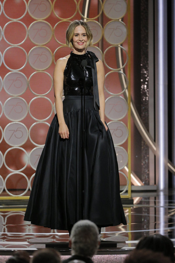 75th ANNUAL GOLDEN GLOBE AWARDS -- Pictured: Sarah Paulson, Presenter at the 75th Annual Golden Globe Awards held at the Beverly Hilton Hotel on January 7, 2018 -- (Photo by: Paul Drinkwater/NBC)