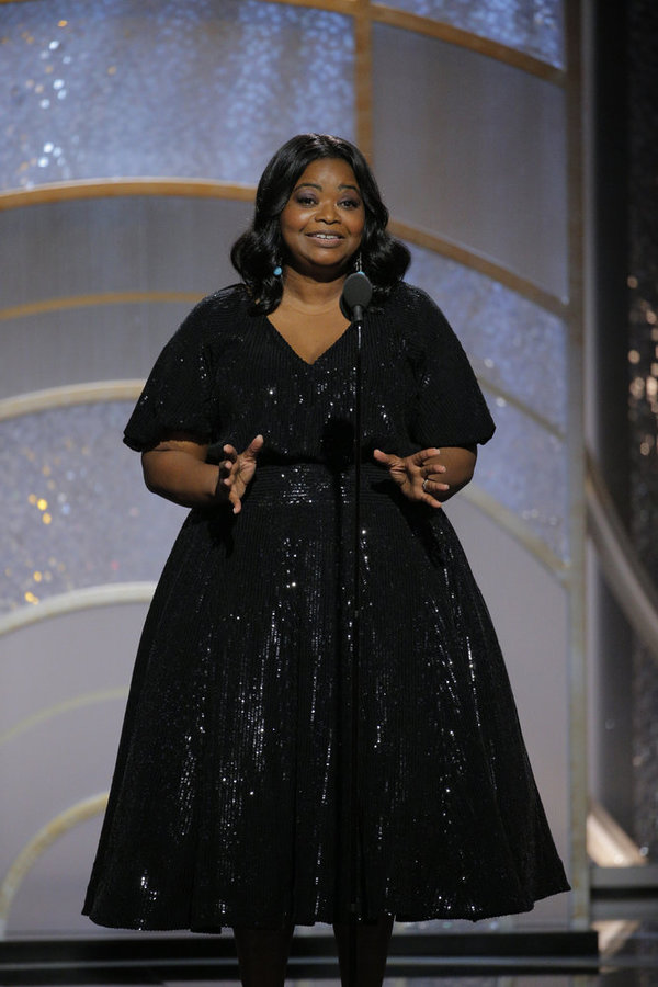 75th ANNUAL GOLDEN GLOBE AWARDS -- Pictured: Octavia Spencer, Presenter at the 75th Annual Golden Globe Awards held at the Beverly Hilton Hotel on January 7, 2018 -- (Photo by: Paul Drinkwater/NBC)