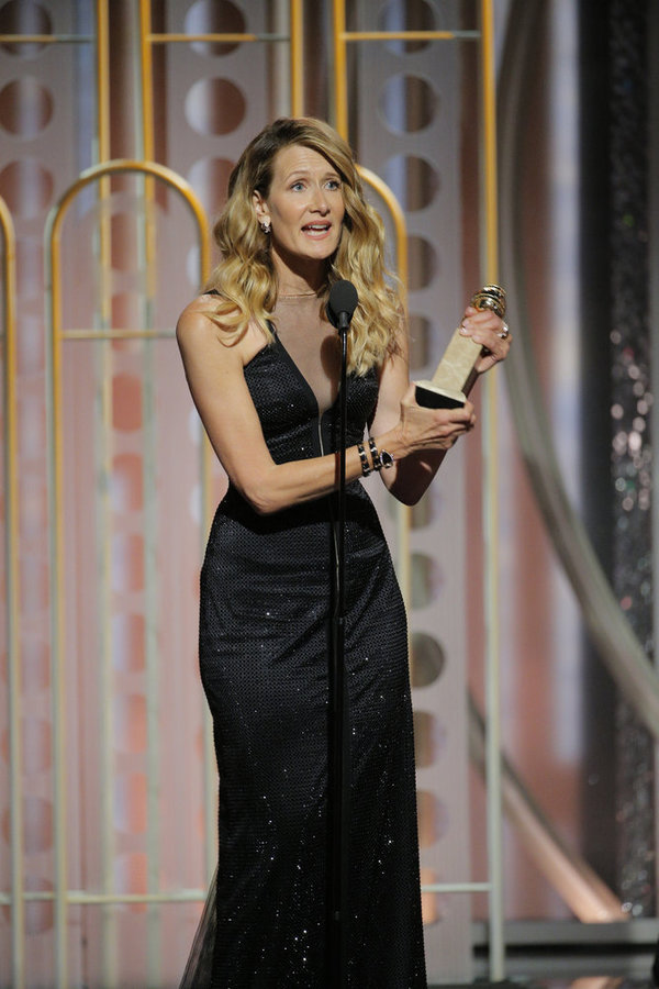 """75th ANNUAL GOLDEN GLOBE AWARDS -- Pictured: Laura Dern, Â""""Big Little LiesÂ"""" , winner Best Performance by an Actress in a Supporting Role in a Series, Limited Series, or Motion Picture Made for Television at the 75th Annual Golden Globe Awards held at the"""