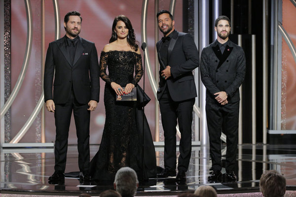75th ANNUAL GOLDEN GLOBE AWARDS -- Pictured: (l-r) Edgar Ramirez, Penelope Cruz, Ricky Martin, Darren Criss, Presenters at the 75th Annual Golden Globe Awards held at the Beverly Hilton Hotel on January 7, 2018 -- (Photo by: Paul Drinkwater/NBC)