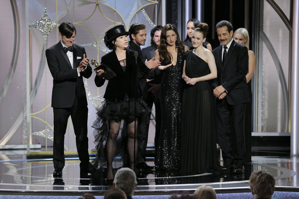 "75th ANNUAL GOLDEN GLOBE AWARDS -- Pictured: Amy Sherman-Palladino, Creator, Â""The Marvelous Mrs. MaiselÂ"", Amazon, accepts the award for Best Television Series — Musical or Comedy at the 75th Annual Golden Globe Awards held at the Beverly Hilton Hotel o"
