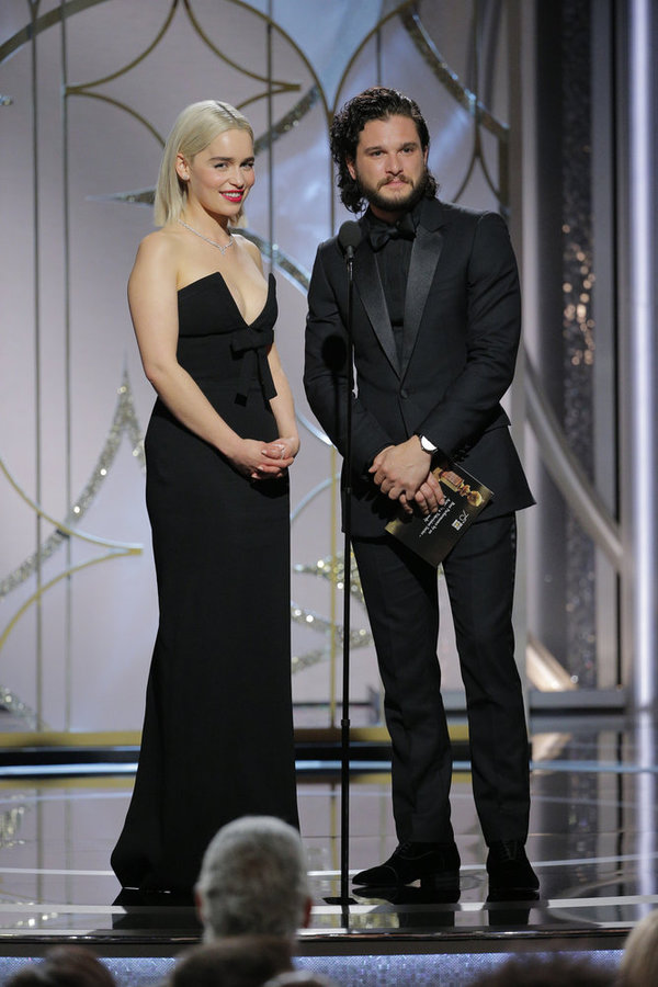 75th ANNUAL GOLDEN GLOBE AWARDS -- Pictured: (l-r) Emilia Clarke, Kit Harrington, Presenters at the 75th Annual Golden Globe Awards held at the Beverly Hilton Hotel on January 7, 2018 -- (Photo by: Paul Drinkwater/NBC)