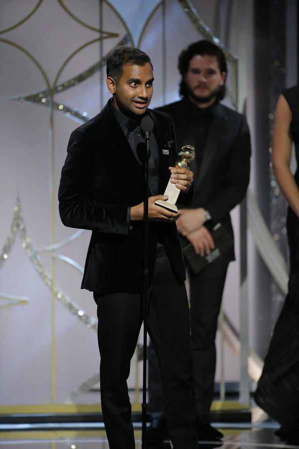 "75th ANNUAL GOLDEN GLOBE AWARDS -- Pictured: Aziz Ansari, winner Best Performance by an Actor in a Television Series �"" Comedy at the 75th Annual Golden Globe Awards held at the Beverly Hilton Hotel on January 7, 2018 -- (Photo by: Paul Drinkwater/NBC)"