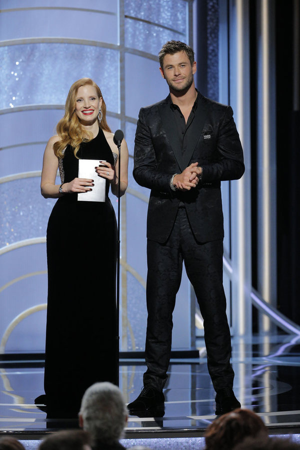 75th ANNUAL GOLDEN GLOBE AWARDS -- Pictured: (l-r) Jessica Chastain, Chris Hemsworth, Presenters at the 75th Annual Golden Globe Awards held at the Beverly Hilton Hotel on January 7, 2018 -- (Photo by: Paul Drinkwater/NBC)