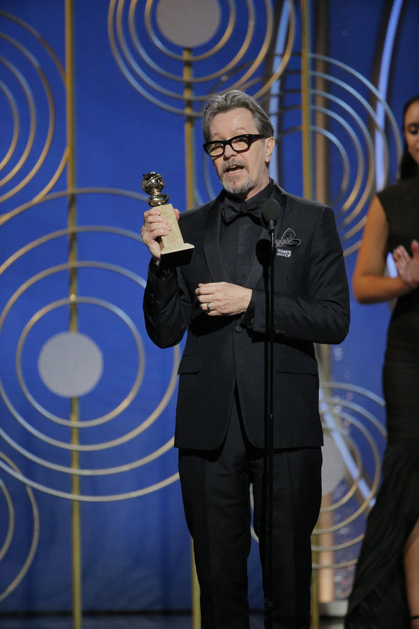 "75th ANNUAL GOLDEN GLOBE AWARDS -- Pictured: Gary Oldman, Â""The Darkest HourÂ"", winner Best Performance by an Actor in a Motion Picture – Drama at the 75th Annual Golden Globe Awards held at the Beverly Hilton Hotel on January 7, 2018 -- (Photo by: Paul"