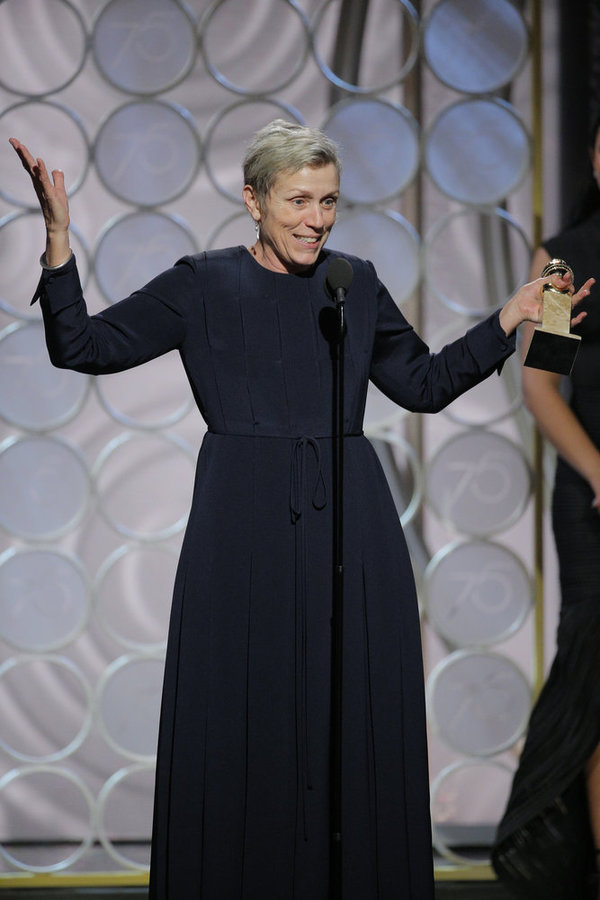 "75th ANNUAL GOLDEN GLOBE AWARDS -- Pictured: Frances McDormand, Â""Three Billboards Outside Ebbing, MissouriÂ"", winner Best Performance by an Actress in a Motion Picture – Drama at the 75th Annual Golden Globe Awards held at the Beverly Hilton Hotel on Ja"