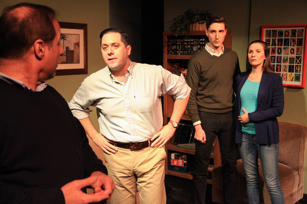 (left to right) Rob Frankel, Josh Zagoren, Matthew Nerber and Sarah Gise in Interrobang Theatre Project's Chicago premiere of FOR THE LOYAL. Photo by Emily Schwartz.