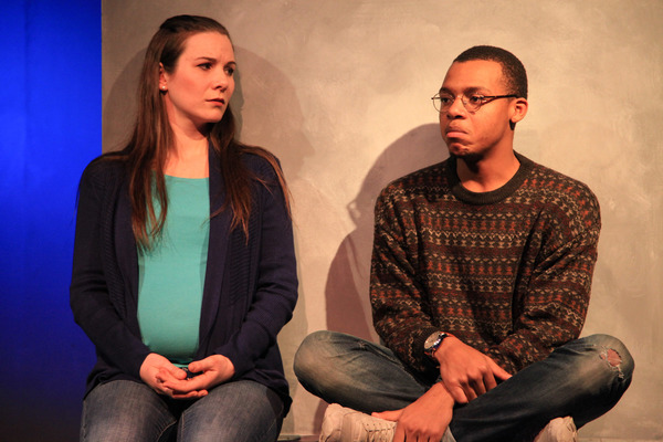 (left to right) Sarah Gise and Richard David in Interrobang Theatre Project's Chicago premiere of FOR THE LOYAL. Photo by Emily Schwartz.