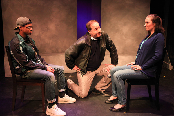 (left to right) Richard David, Rob Frankel and Sarah Gise in Interrobang Theatre Project's Chicago premiere of FOR THE LOYAL. Photo by Emily Schwartz.