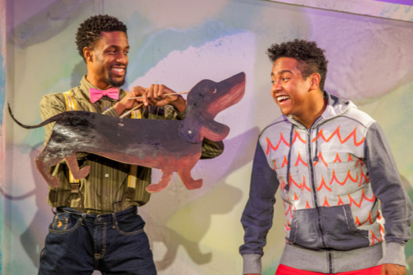 Garrett Gray and Jahbril Cook as Willie the Dog and Peter in The Snowy Day and Other Stories by Ezra Jack Keats. The show features puppets by shadow puppet artist Charlotte Lily Gaspard. photo credit: Adam Smith Jr.