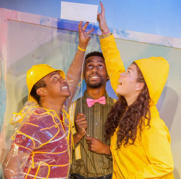 Jahbril Cook as Peter, Garrett Gray, and Tay Bass as Amy in The Snowy Day and Other Stories by Ezra Jack Keats. photo credit: Adam Smith Jr.