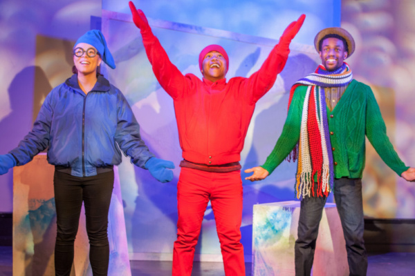 Tay Bass, Jahbril Cook, and Garrett Gray in The Snowy Day and Other Stories by Ezra Jack Keats opening at St. Luke's Theatre January 13th. photo credit: Adam Smith Jr.