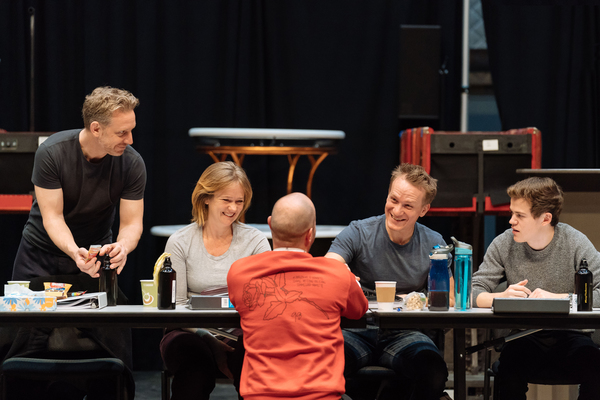 Actors Paul Thornley, Poppy Miller, Jamie Parker and Sam Clemmett in conversation with John Tiffany (back to photo)