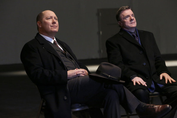 "THE BLACKLIST -- ""Abraham Stern (#100)"" Episode 511 -- Pictured: (l-r) James Spader as Raymond ""Red"" Reddington, Nathan Lane as Abraham Stern -- (Photo by: Will Hart/NBC)"