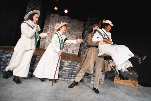 Inspector McBrien removes Grace Roe as an obstacle.(L to R): Gertrude (Scottie Caldwell), Mrs. Pankhurst (Jean Marie Koon), Inspector McBrien (David Kaplinsky), Grace Roe (Arielle Leverett) in Babes With Blades Theatre Company's THE GOOD FIGHT