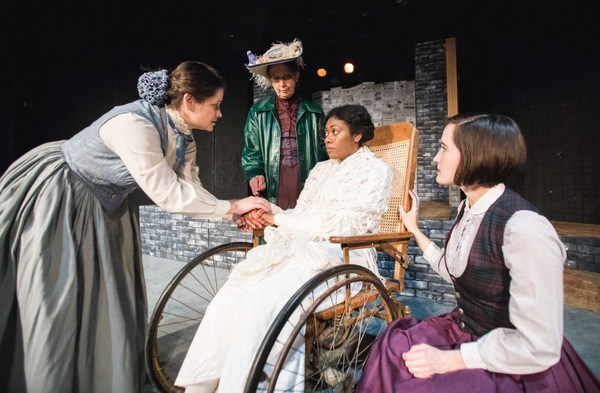 Harriet Kerr breaks with the Women's Social and Political Union. L to R: Harriet Kerr (Delia Ford), Mrs. Pankhurst (Jean Marie Koon), Grace Roe (Arielle Leverett), Gertrude (Scottie Caldwell) in Babes With Blades Theatre Company's THE GOOD FIGHT