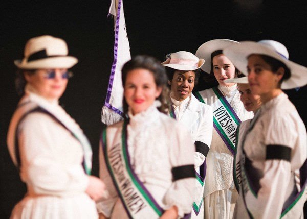 The suffragettes of the Women's Social and Political Union. L to R: Harriet Kerr (Delia Ford), Hilda (C. Jaye Miller), Grace Roe (Arielle Leverett), Gertrude (Scottie Caldwell), Mary (Elisabeth Del Toro), Cicely (Jillian Leff) in Babes With Blades Theat