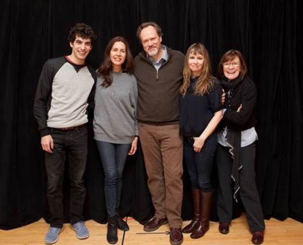 From left to right: Ben Edelman, Jessica Hect, Andrew Garman, Sally Murphy, and Ann McDonough in rehearsal for Joshua Harmon's new play ADMISSIONS at Lincoln Center Theater.