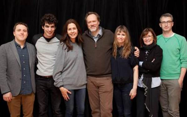 Playwright Joshua Harmon (far left), director Daniel Aukin (far right) and the company of ADMISSIONS in rehearsal at Lincoln Center Theater.