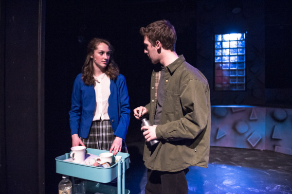 left to right: Leah Reineck as Veronica Sawyer and Mark Quackenbush as JD in HEATHERS THE MUSICAL: High School Edition. Photo courtesy of Bruce F Press Photography.