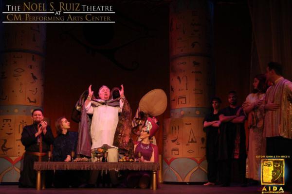 Carl Tese as Zoser, Bobby Peterson as Radames, Barry Johnson as Pharaoh, and Marielle Greguski as Amneris in Elton John & Tim Rice's AIDA at The Noel S. Ruiz Theatre.  Photo Credit: Lisa Schindlar