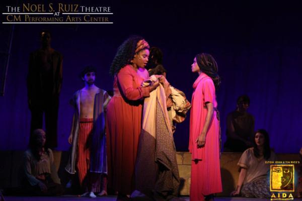 Alicia Bagley as Nehebka and Steffy Jolin as AIDA in Elton John & Tim Rice's AIDA at The Noel S. Ruiz Theatre.  Photo Credit: Lisa Schindlar