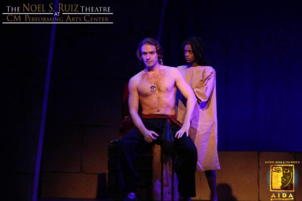 Bobby Peterson as Radames and Steffy Jolin as Aida in Elton John & Tim Rice's AIDA at The Noel S. Ruiz Theatre.  Photo Credit: Lisa Schindlar