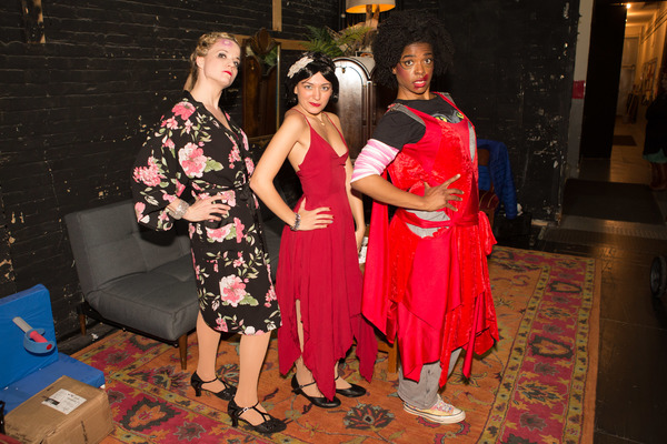 "The Play That Goes Wrong leading ladies Amelia McClain and Ashley Bryant salute super fan Lucie Paladino dressed in costume as �""Florence Collyemore"" while celebrating �""Fan Appreciation Night Gone Right"" backstage at The Lyceum Theatre on Broadway."