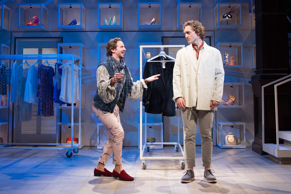 Charles (Brandon Espinoza, left) tries to gather some juicy gossip from Henry (Luigi Sottile), who prefers to keep his dating life more of a secret in Theresa Rebeck's comedy The Way of the World at Folger Theatre