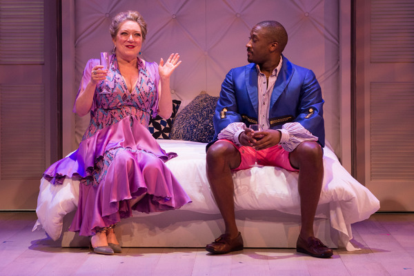 Rene (Kristine Nielsen) gets to know the enigmatic Lyle Swofford (Daniel Morgan Shelley) of Nantucket in Folger Theatre's The Way of the World.