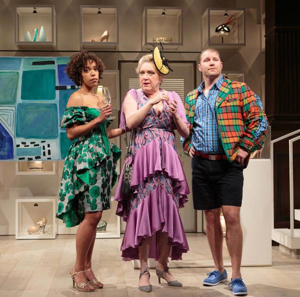 Katrina (Erica Dorfler, left), Rene (Kristine Nielsen), and Reg (Elan Zafir) observin Photo