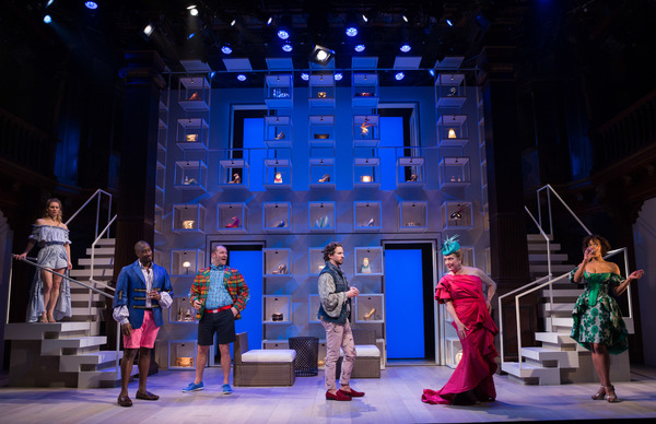 A sophisticated party of one-percenters in the Hamptons in Folger Theatre's The Way of the World. Pictured left to right: Eliza Huberth, Daniel Morgan Shelley, Elan Zafir, Brandon Espinoza, Kristine Nielsen, and Erica Dorfler.