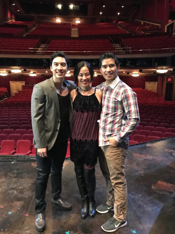 Devin Ilaw, Lia Chang, Christopher Vo on the set of MISS SAIGON