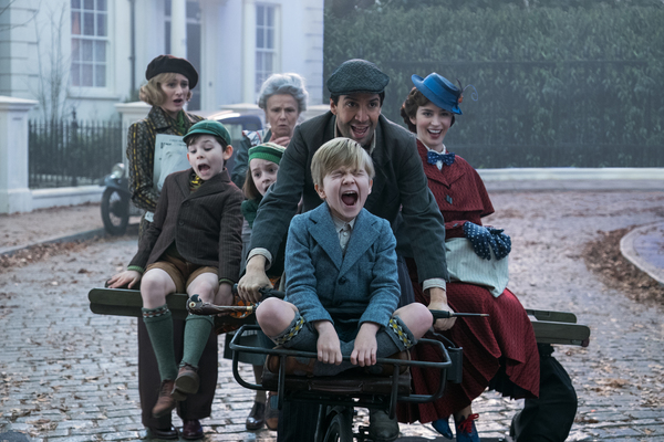 Jane (Emily Mortimer), John (Nathanael Saleh), Annabel (Pixie Davies), Ellen (Julie Walters). Jack (Lin-Manuel Miranda) Georgie (Joel Dawson) and Mary Poppins (Emily Blunt) in Disney's original musical MARY POPPINS RETURNS, a sequel to the 1964 MARY POP