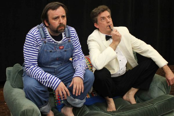 Eric Rupp and John Barker are two chimpanzees in Trevor at the Players Club of Swarthmore.  Photo by Rose Azrael.