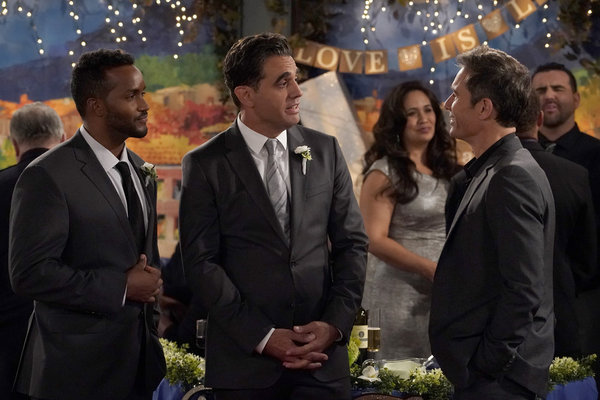 """WILL & GRACE -- """"The Wedding"""" Episode 110 --  Pictured: (l-r) Sterling Sulieman as Ryan, Bobby Cannavale as Vince, Eric McCormack as Will Truman -- (Photo by: Chris Haston/NBC)"""