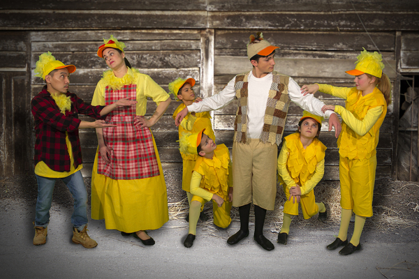 The duckling family is  not sure what to do with Ugly. From left are Dan Mucha (Ugly's dad), Jessica Corriveau (Ugly's mom), Troy Vallery, Nick Benedetti (kneeling), Zach Benedetti as Ugly, Dayley Katz (kneeling) and Claire Corriveau.