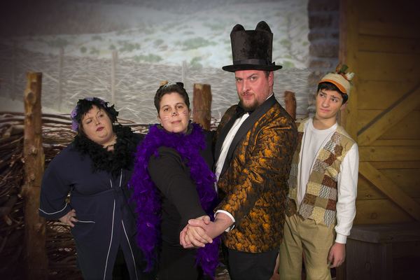 "From left, starring in �""Honk!"" are Gina Drigant as Maureen/Lowbutt; Stacy Danka as Queenie, Nick Pecht as Cat, and Zachary Benedetti as Ugly"