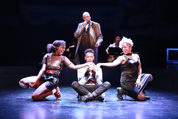 Kris Coleman, Savannah L. Jackson, Jamar Williams, and Taysha Marie Canales in Passing Strange, directed by Tea Alagić at The Wilma Theater. Photo by Bill Hebert.