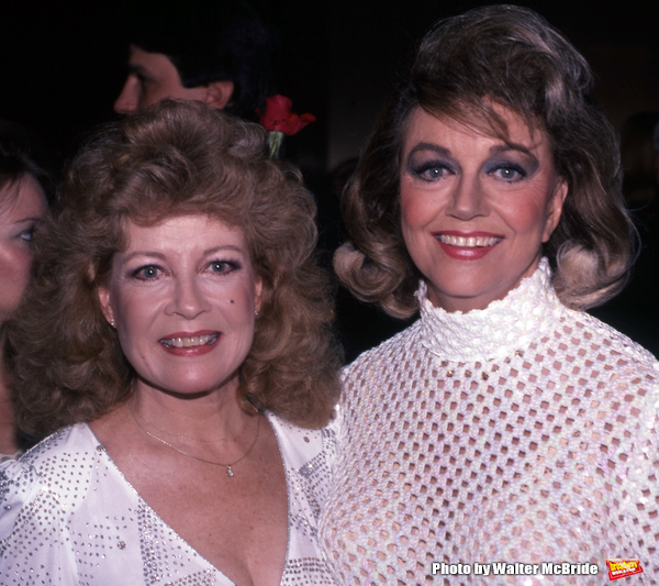 Gloria DeHaven and Dorothy Malone attend The National Film Society's Eighth Annual Artistry in Cinema Awards on September 25, 1983 at The Sheraton Centre's Imperial Ballroom in New York City.