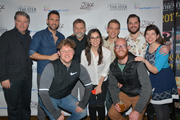 Members of The John W. Engeman Theater Northport with touring company members of ONCE-Stephen McIntrye, Barry DeBois, Adam Potter, Bristol Pomeroy, Mackenzie Lesser-Roy, Dan Tracy, Grant Watkins, John Thomas Hays and Nyssa Duchow